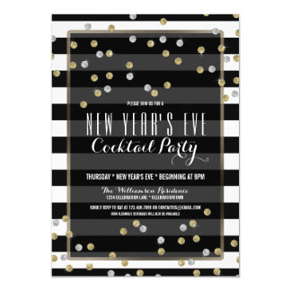 Classy Striped New Year's Eve Party Invitation