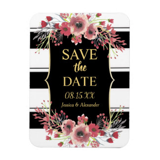 Classy Stripes Floral Watercolor Save The Date Magnet
