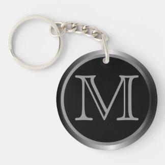 Classy Styled Monogram Double-Sided Round Acrylic Keychain