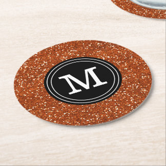 Classy Stylish Brown Glitter Custom Monogram Round Paper Coaster