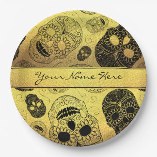Classy Stylish Gold & Black Sugar Skulls with Name Paper Plate