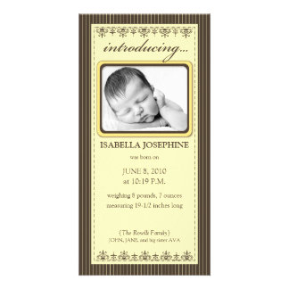Classy Sunny Yellow Customized Birth Announcement Customized Photo Card