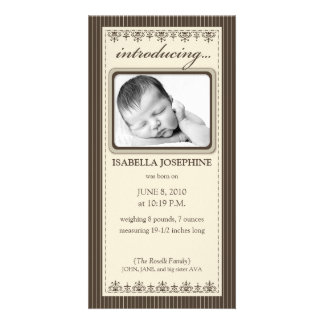 Classy Taupe Customized Birth Announcement Photo Card