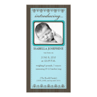 Classy Teal Customized Birth Announcement Photo Card Template