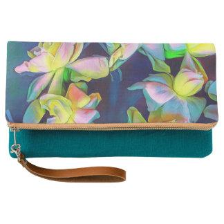 Classy teal floral clutch purse