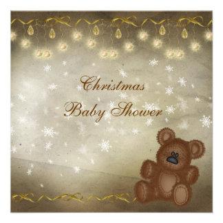 Classy Teddy Bear Neutral Christmas Baby Shower Custom Announcements
