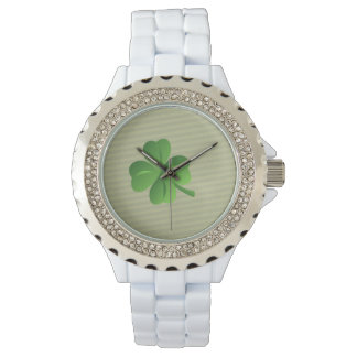 Classy Trendy  Irish Lucky Shamrock Wristwatch