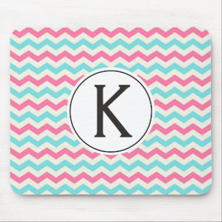 Classy Turquoise and Pink Chevron Custom Monogram Mouse Pad