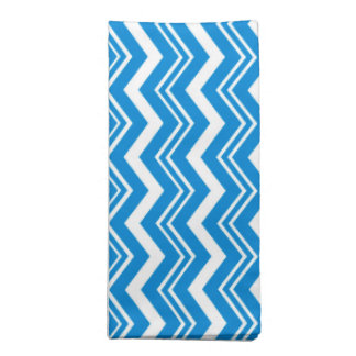 Classy Turquoise Blue and White Zigzag Pattern Printed Napkins
