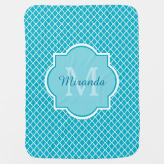 Classy Turquoise Blue Quatrefoil Monogram and Name Baby Blanket
