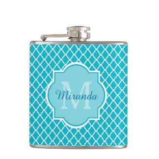Classy Turquoise Blue Quatrefoil Monogram and Name Hip Flask