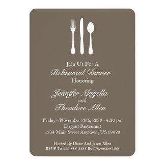 Classy Utensils Rehearsal Dinner (Muddy Brown) Card