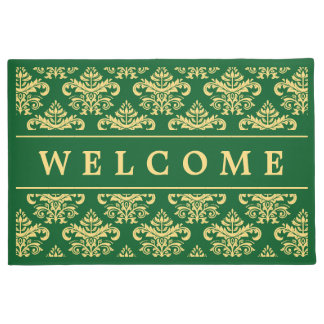 Classy Vintage Gold Green Damask Welcome Home Doormat