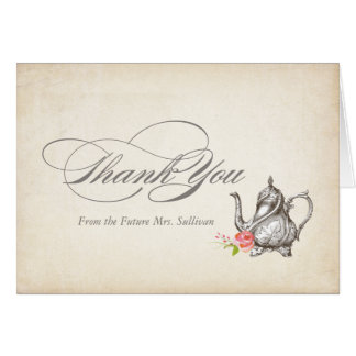 Classy Vintage Tea Party Thank You Card