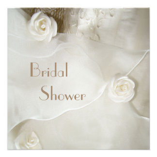 Classy Vintage Wedding Gown Bridal Shower Invites