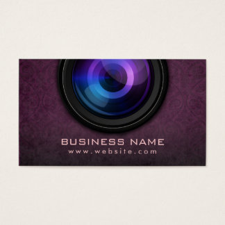 Classy Violet Damask Photography Business Cards