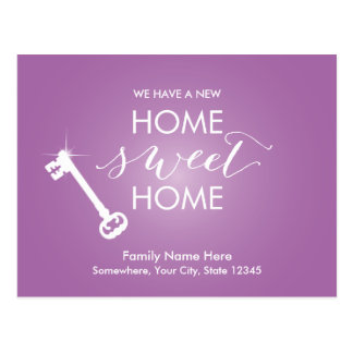 Classy Violet New Home Sweet Home Moving Postcard