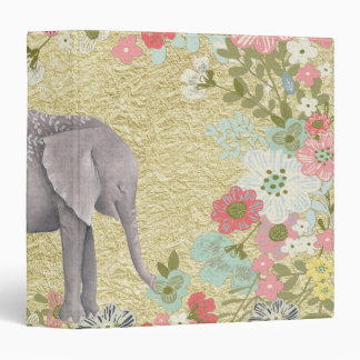 Classy Watercolor Elephant Floral Frame Gold Foil 3 Ring Binders