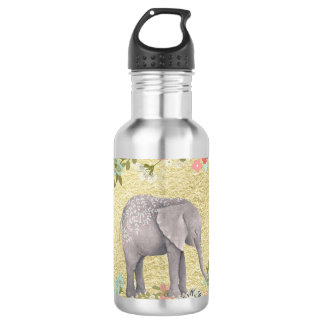 Classy Watercolor Elephant Floral Frame Gold Foil 532 Ml Water Bottle