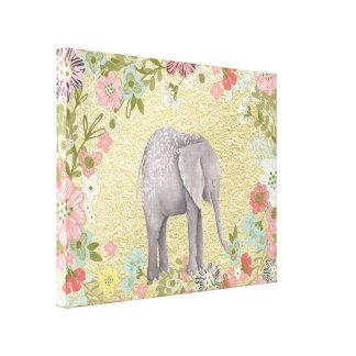 Classy Watercolor Elephant Floral Frame Gold Foil Canvas Print