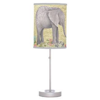 Classy Watercolor Elephant Floral Frame Gold Foil Desk Lamps