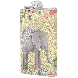 Classy Watercolor Elephant Floral Frame Gold Foil Hip Flask