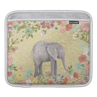 Classy Watercolor Elephant Floral Frame Gold Foil iPad Sleeve