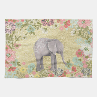 Classy Watercolor Elephant Floral Frame Gold Foil Kitchen Towel