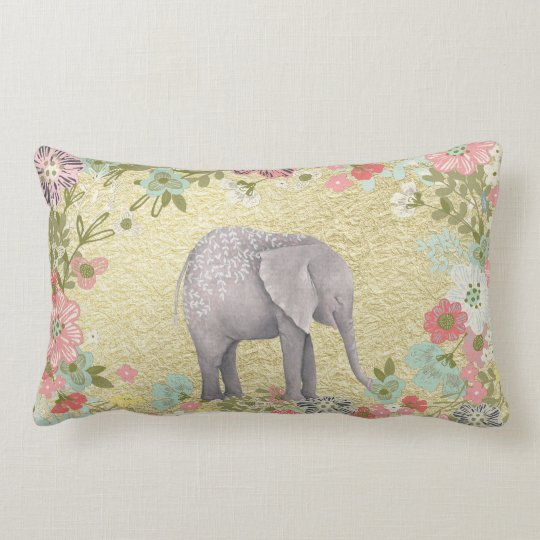 Classy Watercolor Elephant Floral Frame Gold Foil Lumbar Pillow