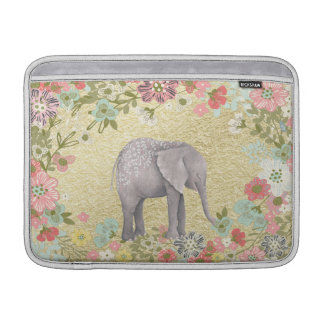 Classy Watercolor Elephant Floral Frame Gold Foil MacBook Sleeve