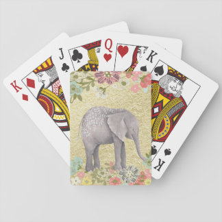 Classy Watercolor Elephant Floral Frame Gold Foil Playing Cards