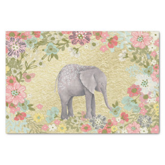 Classy Watercolor Elephant Floral Frame Gold Foil Tissue Paper