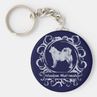Classy Weathered Alaskan Malamute Basic Round Button Keychain