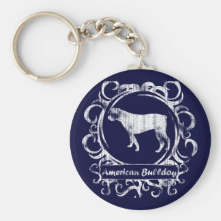 Classy Weathered American Bulldog Keychain