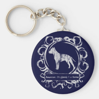 Classy Weathered American Staffordshire Terrier Basic Round Button Keychain