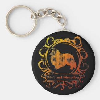 Classy Weathered Shetland Sheepdog Basic Round Button Keychain