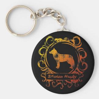 Classy Weathered Siberian Husky Basic Round Button Keychain