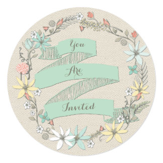 "Classy Wedding Floral Wreath and Banner 5.25"" Square Invitation Card"
