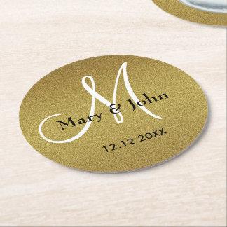Classy Wedding Monogram Glitter Gold Round Paper Coaster