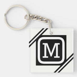 Classy White & Black Basic Square Lined Monogram Keychain
