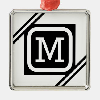 Classy White & Black Basic Square Lined Monogram Metal Ornament