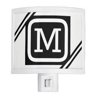 Classy White & Black Basic Square Lined Monogram Night Lite
