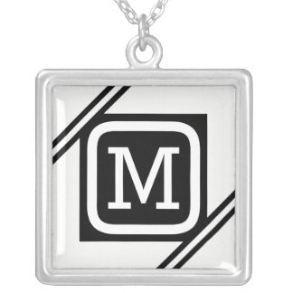 Classy White & Black Basic Square Lined Monogram Silver Plated Necklace