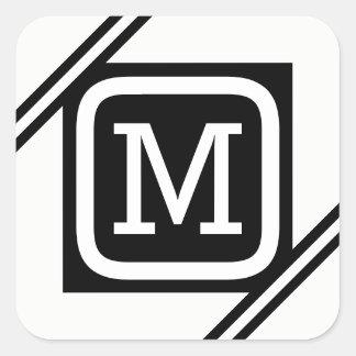 Classy White & Black Basic Square Lined Monogram Square Sticker