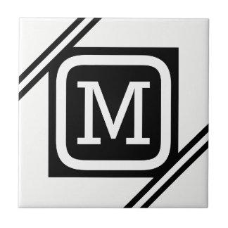 Classy White & Black Basic Square Lined Monogram Tile