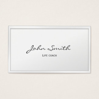 Classy White Border Life Coach Business Card
