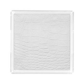 Classy white crocodile leather perfume tray