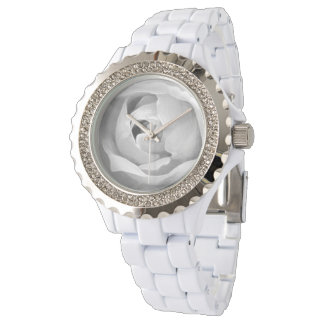 Classy White Rose Center Wrist Watches