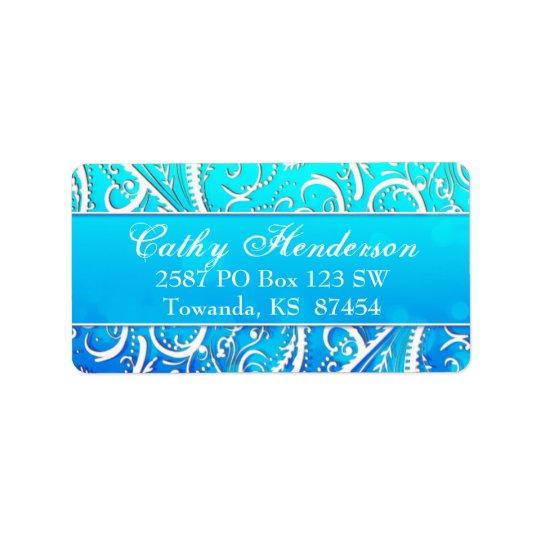 Classy Winter Blue Flourishes Address Label