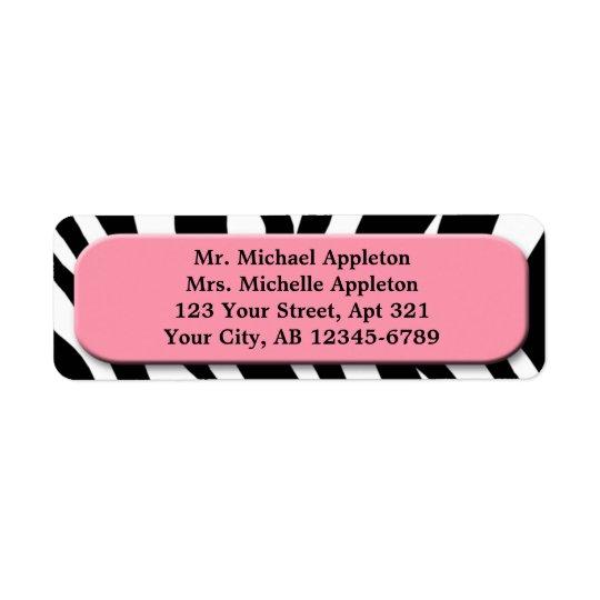 Classy Zebra Print Pink Address Labels